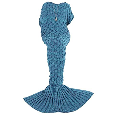 AMIR Mermaid Tail Blanket Crochet, Mermaid Blanket for Mothers Day Gifts, Super Soft and Fashion Blanket, All Seasons Sleeping Blanket for Easter, for Kids, Adults, 180 cm X 90 cm(71 inch x 35.4 inch