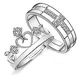 EQLEF® 2 PCS diamantes artificiales cruz y corona anillos para hombres o mujeres pareja apertura anillos