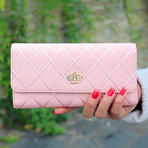 Ouneed® Damen groß Kapazität elegante Krone Luxus Wachs Leder Geldbörsen mit Reißverschluss-Tasche ( Rosa) -