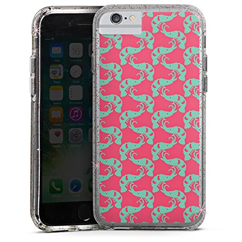 Apple iPhone 6 Plus Bumper Hülle Bumper Case Glitzer Hülle Shrimps Mer Meer Bumper Case Glitzer rose gold