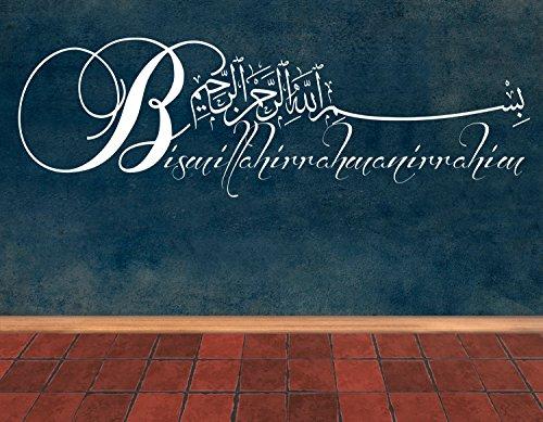 Wandtattoo Weiß Bismillahirrahmanirrahim Arabische und deutsche Kalligraphie Koran Schrift Islamische Dekoration Wandtattoos Wandaufkleber Bismillah Besmele(80 x 24 cm)