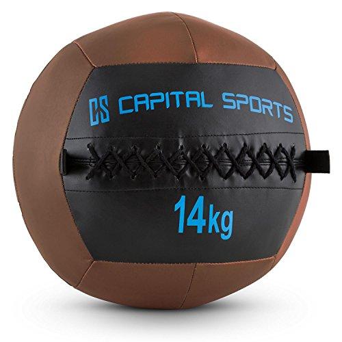 Capital Sports Epitomer • Medizinball • Wall Ball • Fitness Ball • Krafttraining • Ausdauertraining • Functional Training • vernähtes Kunstleder • griffige Oberfläche • Studio Qualität • Farbe: braun • Gewicht: 14 kg