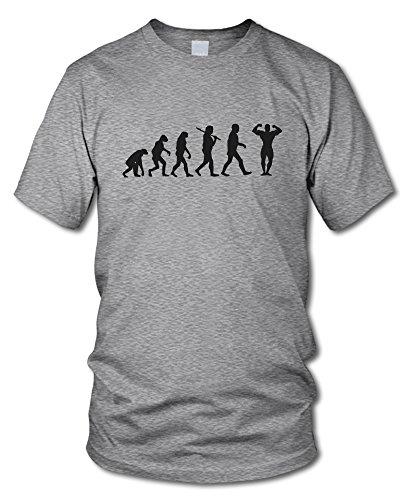 shirtloge - EVOLUTION BODYBUILDER - KULT - Fun T-Shirt - in verschiedenen Farben - Größe S - XXL Grau-Meliert (Schwarz)