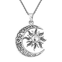 Idea Regalo - PICCOLI MONELLI Collana Sole e Luna Simbolo dell'amore e dell intelletto Luce e oscurita Bianco e Nero Gli opposti Colore Argento Invecchiato