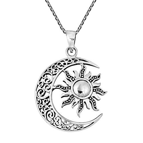 3848edcf302c Pequeños monelli Collar Sol y Luna símbolo del Amor y del intelecto luz y  Oscuridad Blanco