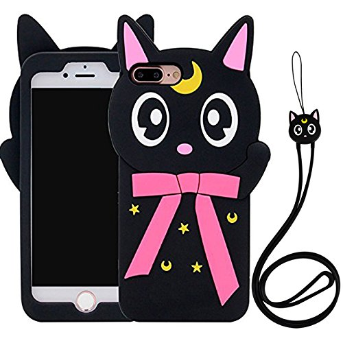 Iphone 7 Plus Case , KoalaGroup® 3d trendy vertical silicone sleeve body Cactus/ Pikachu /Pineapple /drop resistance protective sleeve case cover for iphone 7 Plus (Moon cat) Moon cat