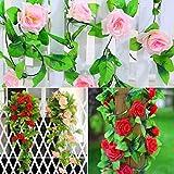 #9: CUH Artificial Rose Garland Silk Flower Vine for Home Wedding Garden Party Decoration