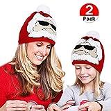 Tacobear 2 Piezas Sombrero Navidad Invierno Santa Claus Cálido Gorro Gorra con Pom de Punto Beanie Padre-Hijo Otoño Invierno Tejidos Sombreros para Adultos niños