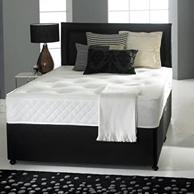 Leather Divan Bed Non Storage Free Headboard Tuft Ortho Mattress