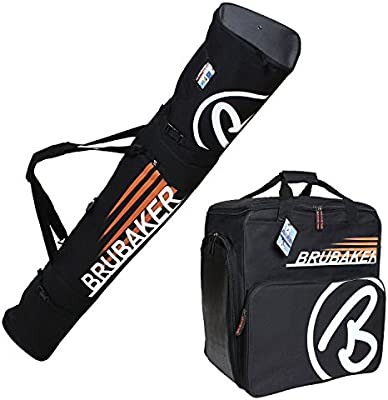 BRUBAKER Conjunto 'Super Champion' Bolsa para botas y Casco de ski junto a 'Carver Champion' Bolsa para un par de Ski - Negro / Naranja - 170 cms.