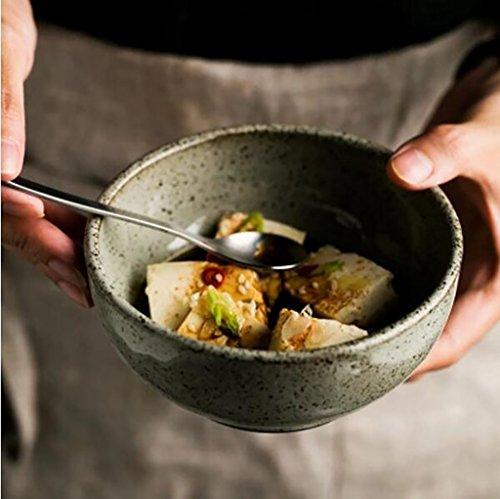 Salade de fruits Japonais rétro grès bol de riz salade de fruits bol à dessert bol en céramique bol à pâtes ménage Assiette de salade (Couleur : A)