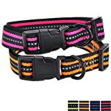 Mile High Life Night Reflektierende Doppelstreifen Nylon Hundehalsband (2 Pack Orange/Helles Rosa, X-Small Neck 9