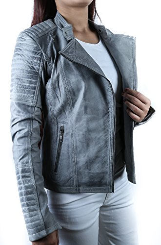 *Urban Leather Fashion Lederjacke – Sylvia, light grey, Größe 46, 3XL*