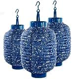 3er Set beleuchtete Laternen, China- Papier- Lampions, Blau