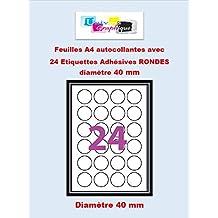 Agipa-Etiquetas adhesivas-1200-Etiquetas redondas-círculo de diámetro, 40 mm, color blanco mate, para impresoras láser y de inyección de tinta 50 hojas, tamaño A4, autoadhesivas