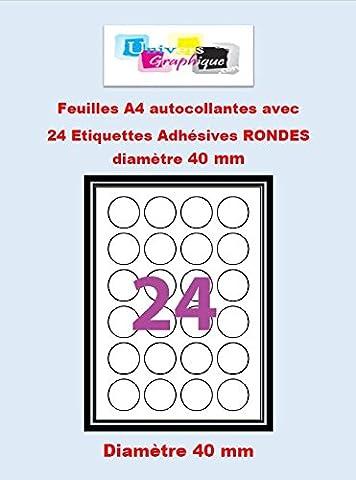 Etiquettes Adhésives - 360 étiquettes papier rondes - cercle de diametre 40 mm ( 4 cm) - Blanc Mat - pour imprimantes Laser et Jet d'encre - 15 Feuilles A4