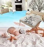 Boden-Tapete 3D für Badezimmer-Strand-Delphin 3D stereoskopischer Boden 3D Boden-Tapeten Pvc-wasserdichter Boden 250cm(L) x175cm(W)