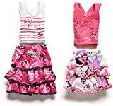 Smilucky 1 Pair Skirt And Short-sleeved T-shirt for Barbies Kids Doll