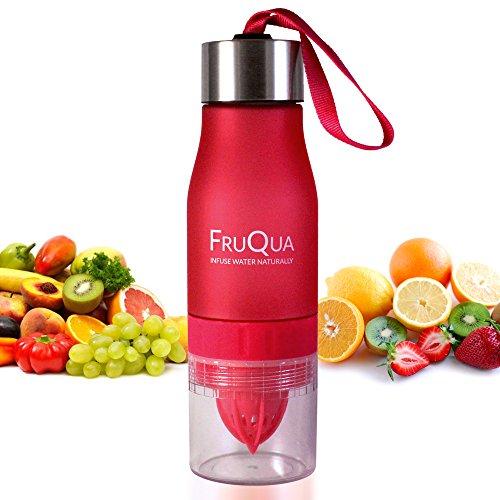 fruqua fruta Infusor botella de agua en 7colores, sin BPA libre de, 650ml para beber con eBook de recetas de infusión de frutas, a prueba de fugas, fabricado con material de Tritan, por ayka Soluciones. Transparente rosa