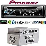 Toyota Yaris P1 2003-2006 - Autoradio Radio Pioneer DEH-S510BT - Bluetooth | Spotify | CD | MP3 | USB | Android | iPhone | Multicolor | 4x50Watt Einbauzubehör - Einbauset