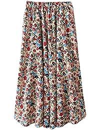 ZKOOO Femmes Été Lâche Jupes Mi Longue Boho Imprimé Floral Mousseline Jupe de Plage Taille Haute Rétro Skirts