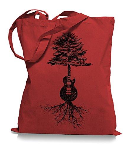 Guitar Tree Roots Stoffbeutel | Gitarrist Tragetasche Gitarre Bassist Classic Red