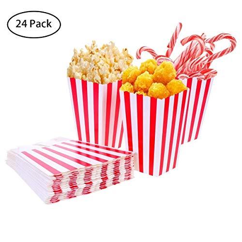 24 Stück Popcorn-Boxen Rot und Weiß Gestreift Papier Taschen Tüte Candy Container für Party, Kinder, Geschenke, Geburtstage, Kino, Theater