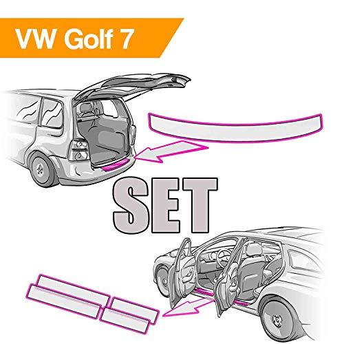GOLF 7 Ladekantenschutz mit Einstiegsleisten Set und Rakel in Tranparent von Wizuals© GOLF 7 Facelift ab 2017