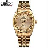 Chenxi goldene Mode Herrenuhr Edelstahl Quarz-Armbanduhr ( Farbe : Schwarz , Großauswahl : Einheitsgröße )