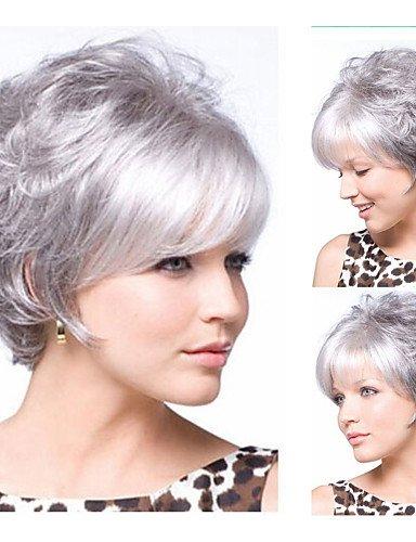 Perruque & xzl Perruques Fashion nouveaux arrivants cheveux synthétiques gris argenté courte perruque de cheveux bouclés Livraison gratuite