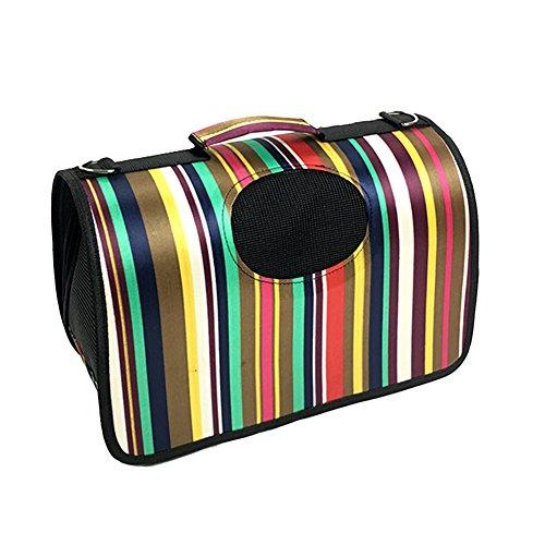 etbotu Pet Travel Carrier Handtasche, PVC-Material, Hund Katze weiche faltbare Geldbörse, Colorful Stripes, S: 37 * 24 * 23cm (Stripe Tote Handtasche Pink)