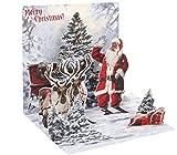 Pop Up 3D Weihnachten Karte PopShot Santa Claus mit 2 Renntieren 13x13 cm