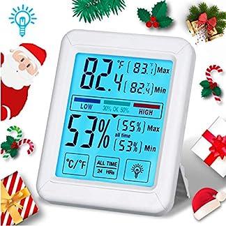 Tvird Higrómetro Termómetro Digital,LCD Pantalla Táctil Grande Retroiluminada Digital, ° C / ° F Conmutable, Medidor de Humedad a Temperatura Ambiente,Temperatura Comodidad para Hogar y la Oficina