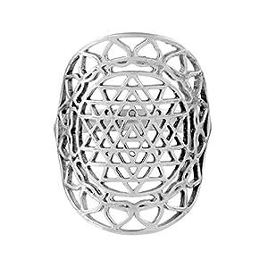 81stgeneration Frauen .925 Sterling Silber Breit Sri Yantra Chakra Heilig Hindu Ring