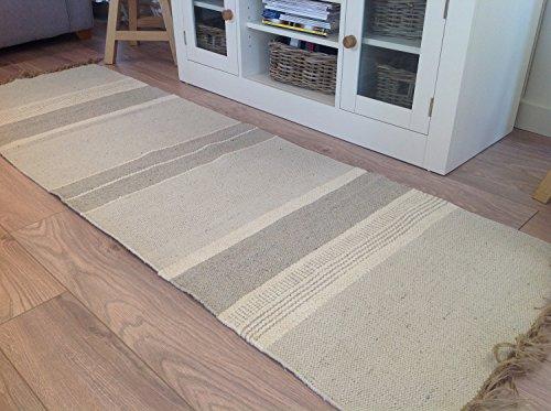 Second Nature Natürliche Baumwolle & Jute grau weiß Multi Stripe Läufer Teppich 70cm x 200cm - Natürlichen Läufer Teppich