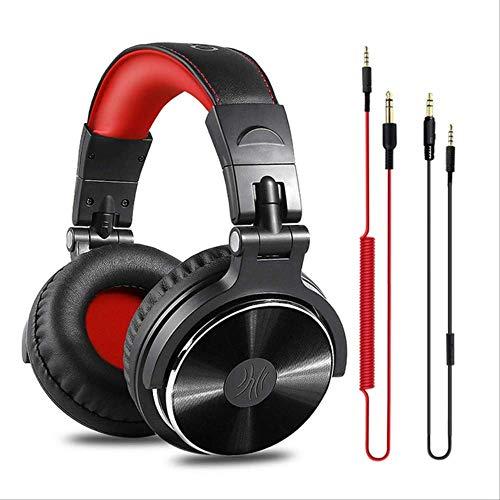 VBGFRTD Gaming HeadsetProfessional Studio DJ Casque avec Microphone sur L'oreille Filaire HiFi Moniteurs Casque Pliable Gaming Écouteur pour Pc China Studio-Standard-Red