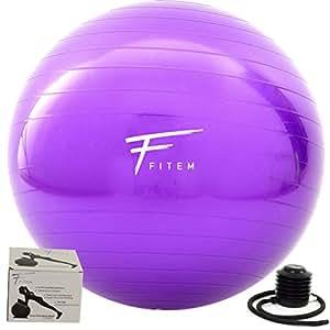 Fitem Gym Ball Violet - 55, 65 et 75cm - Ballon de Gym – Ballon Fitness – Ballon pour Pilates, Exercises d'Equilibre, Pilates, Yoga