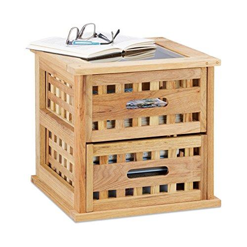 Relaxdays Beistelltisch Walnuss, quadratischer Nachtschrank aus Naturholz mit 2 Schubladen, HBT: 34 x 34 x 34 cm, natur (Nachttisch-kleiner Tisch)