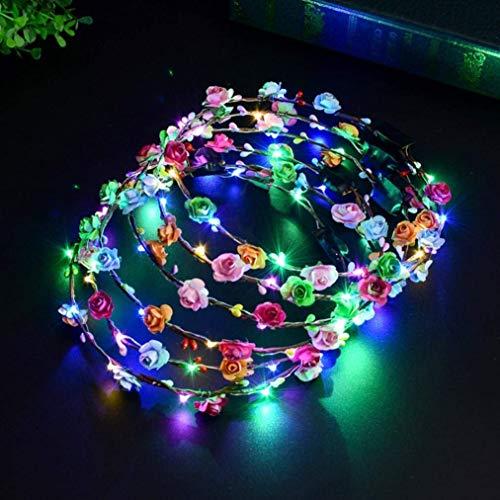 Haarschmuck LED Blumen Stirnband Blumenkranz für Haarkranz Damen,ABREOME Leucht Blumenkopfschmuck Dekorative Kranz Stirnband für Hochzeit Party,Frauen,Nacht Party Dekor(10 LEDs-5 Stück-Bunt)