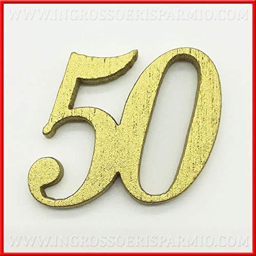 Ingrosso e risparmio 12 decorazioni in legno numero 50 dorato anniversario nozze d'oro per bomboniere confettate fai da te matrimonio (senza confezionamento)