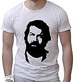 T-Shirt Cotone Fiammato Scollo Ampio a Taglio Vivo - Bud Spencer Che Guevara Style Cool Street Fashion Made in Italy (XXL, Bianco)