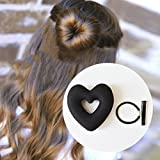 NUOLUX Haarknoten,Haar Styling,Heart Shape Donut Hair Bun Maker (Black)