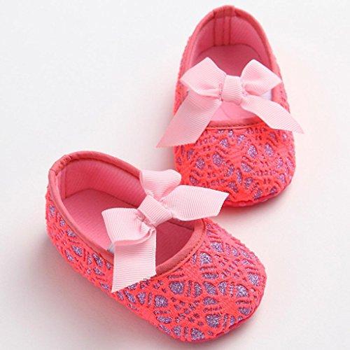 Saingace Kleinkind Mädchen Krippe Schuhe Neugeborene Blume Soft Sohle Anti-Rutsch Baby Sneakers Rot