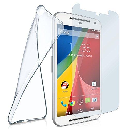 Silikon-Hülle für Motorola Moto G2 | + Panzerglas Set [360 Grad] Glas Schutz-Folie mit Back-Cover Transparent Handy-Hülle Motorola Moto G 2. Generation Case Slim Schutzhülle Panzerfolie