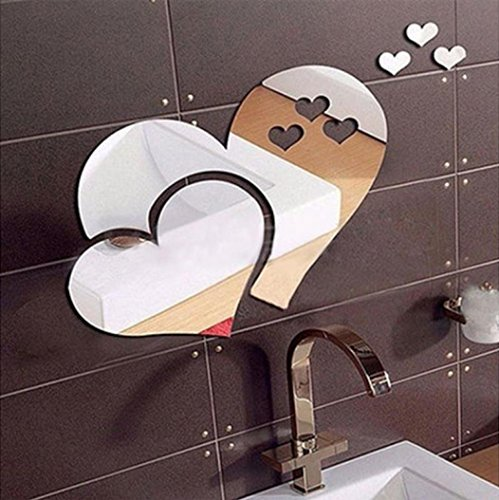Für Großes Bild Küche (Wandaufkleber Wallsticker Ronaimck 3D Spiegel Liebe Herzen Wandaufkleber Aufkleber DIY Home Zimmer Kunst Wandbild Decor Removable (Silber))