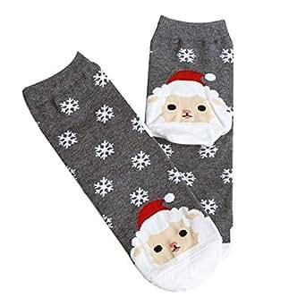 ZYUEER DéGagement!!![Cadeaux De NoëL] Femme Chaussettes Vintage Chaud Hiver Socquettes Imprimé En Animal Chic NoëL Chaussettes Sock Christmas Pas Cher (Gris)