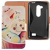 Lankashi PU Flip Leder Tasche Hülle Case Cover Handytasche Schutzhülle Etui Skin Für LG L Fino Dual D295 D290N Lovely Design