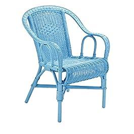 Tropic' Attitude Crapaud Fauteuil, Rotin, Bleu Océan, 57x62x84 cm