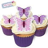 Essbare Kuchendekorationen- 12 Schmetterlinge: Lila,Rosa und Weiß / 12 Gorgeous Edible Butterflies: PURPLE, PINK & WHITE