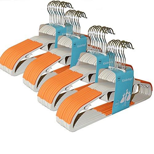 Style home 40 Stück 0,6cm dicke Kleiderbügel Anzugbügel mit rutschfester Oberfläche 360° drehbarer Haken Orange KB-G001-02